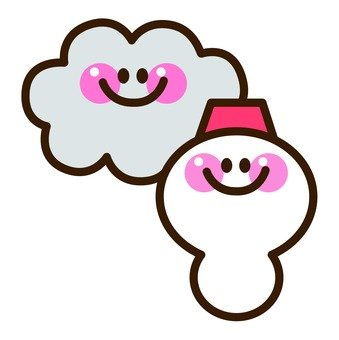 Clouds and snowman
