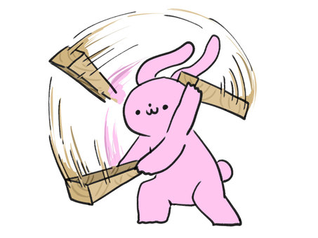 Rabbit swinging timber