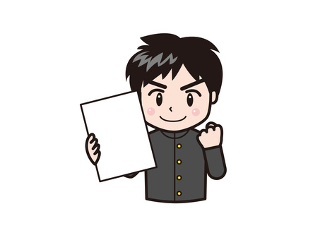 Male student with guts pose with paper