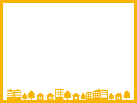 City cityscape silhouette yellow frame