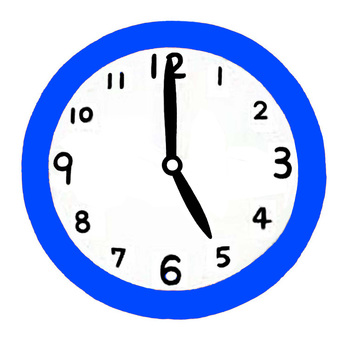 Clock pointing to 5 o'clock
