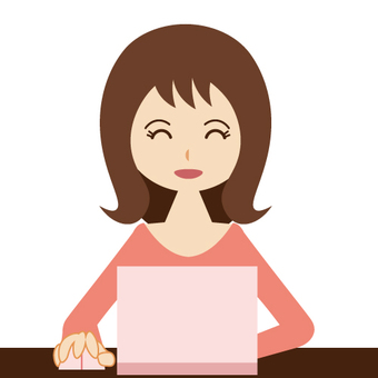 컴퓨터를하는 여성 · 주부 (웃음)