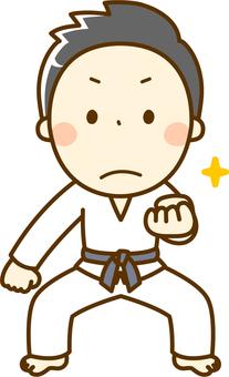 A boy learning karate