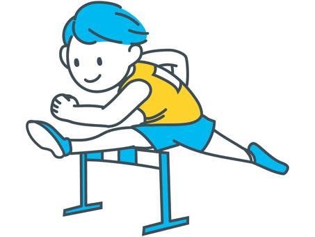 Athletic boy jumping blue yellow white hurdle