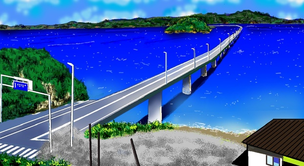 Road crossing the sea