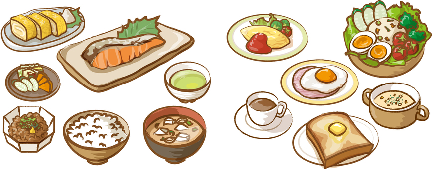 Breakfast Japanese style Western style
