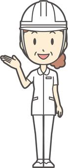 Middle-aged women nurse white coat-117-whole body