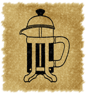 French press (with background, black)