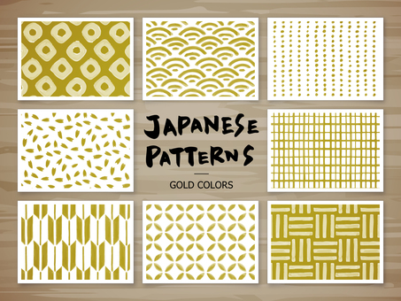 Japanese pattern of hand-painted (gold)