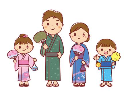 Illustration of a family of four in yukata