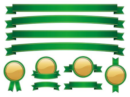 Ribbon & Medal Set Green Gold 01