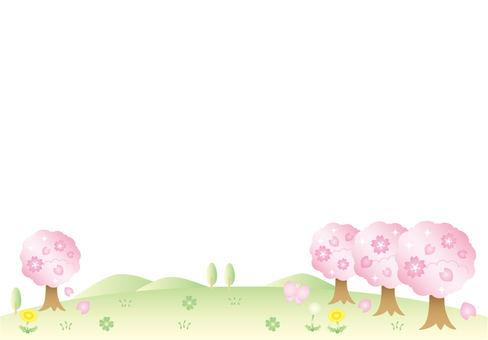 Cherry Trees and Field (No Sky)