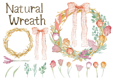 """Watercolor style"" wreath set"