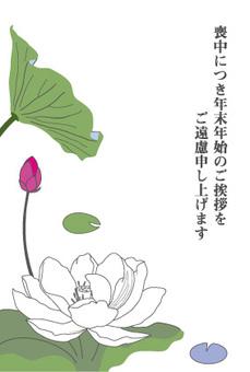 Mourning postcard-white lotus and bud