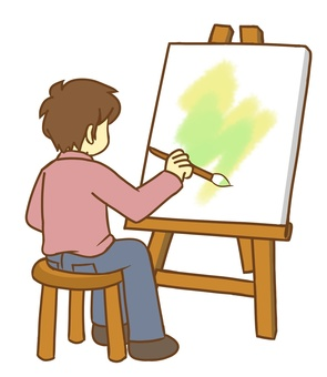 A person who draws a picture (watercolor)