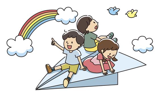 紙飛行機に乗った子供達