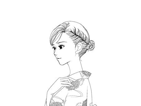 Female_line drawing ② Yukata