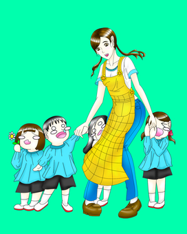 Illustration of a woman and children of a nursery teacher
