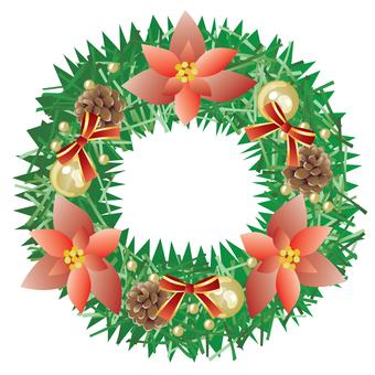 Christmas wreath _ poinsettia red