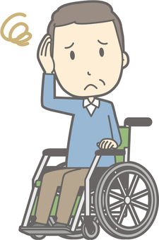 Middle-aged man clothes - wheelchair troubled - whole body