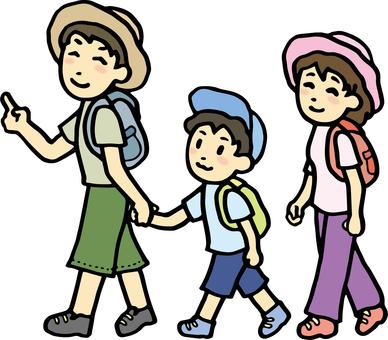 여행을 떠나는 가족