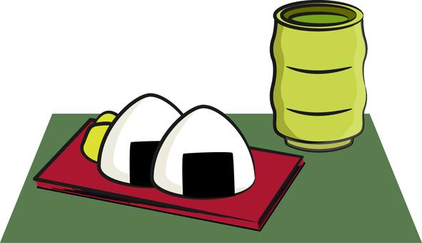 Tea and rice ball