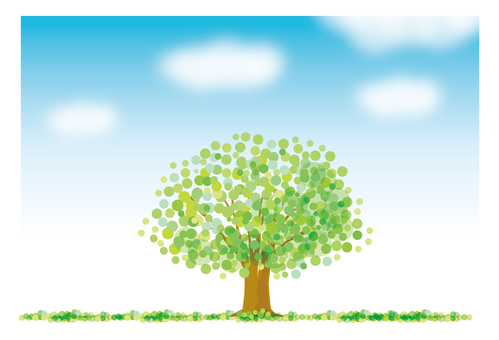 녹색 나무와 푸른 하늘