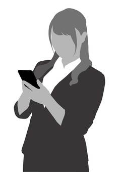 A woman who operates a smartphone