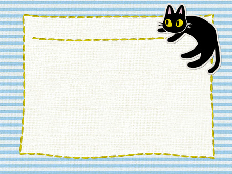 Black cat cotton card (light blue)