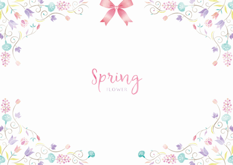 Spring background frame 021 Flower watercolor