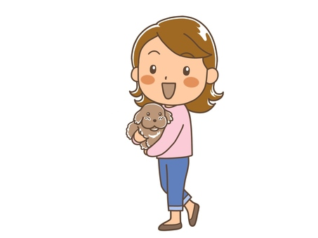 The whole body of a woman holding a dog