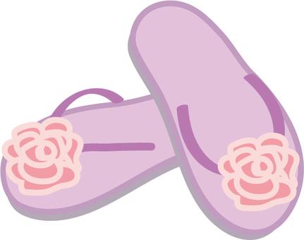 Beach sandals flower purple