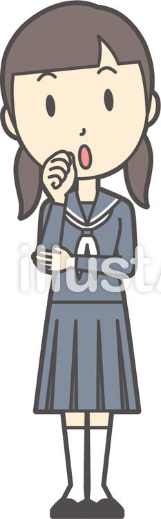 中学生セーラー女性-107-全身のイラスト