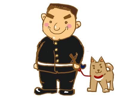 Takamori Saigo and Tsuntsun (Satsuma dog)
