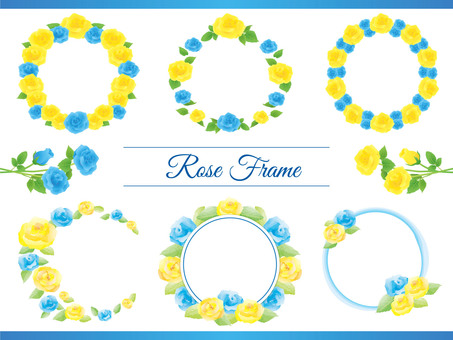 Yellow and blue roses circle frame set