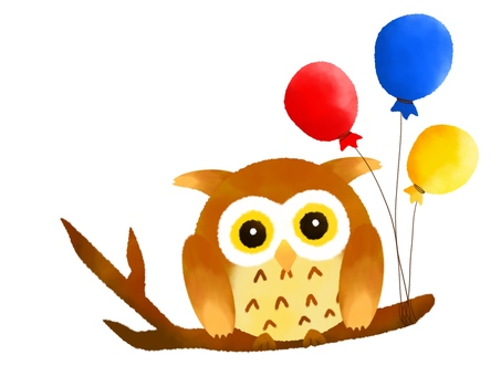 Owl and balloons