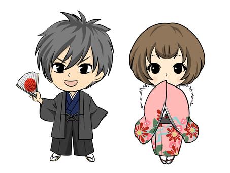 Kimono Men & Women Chibi Characters Kimono Background None