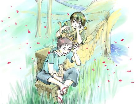 Boys and Tsubasa Cat
