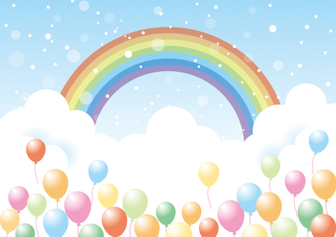 Balloons and sky _ background material 01