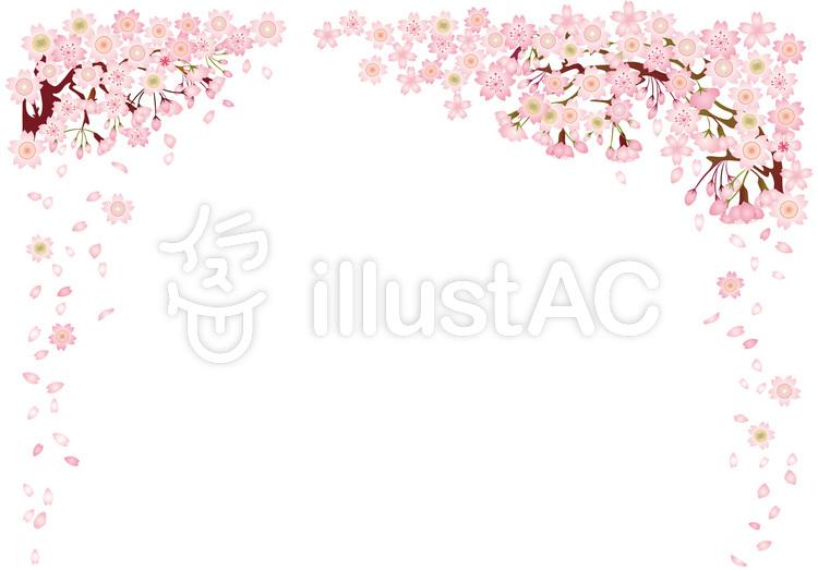 フレーム飾り枠桜背景春壁紙花和風ピンク絵イラスト No 無料イラストなら イラストac