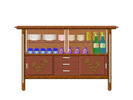 Sideboard with tableware N0140