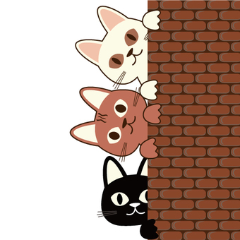 Three cats peering from the wall