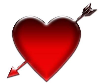 An illustration in which an arrow stuck in the heart