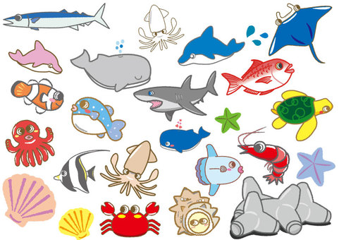 Pretty sea creatures set 01