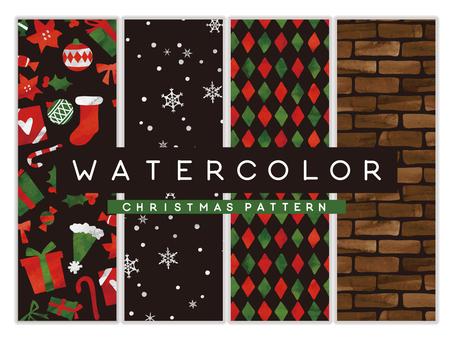 水彩テクスチャパターン クリスマス01