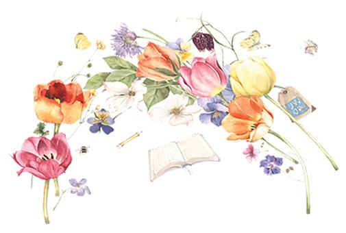 花枠297-チューリップと春の花と聖書