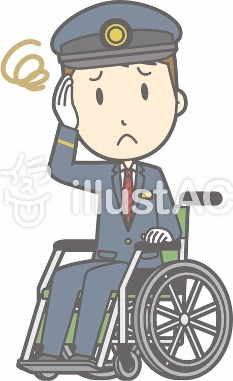 駅員男性a-車椅子困った-全身のイラスト
