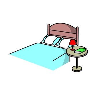 Double bed and table