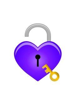 Heart type key (with key · purple)