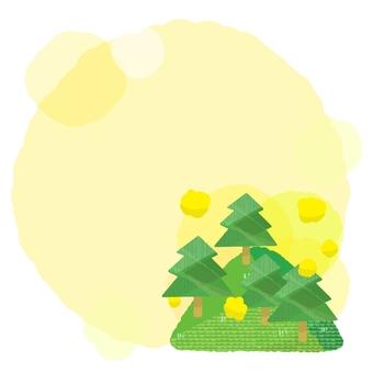 Speech balloon with mountain and pollen